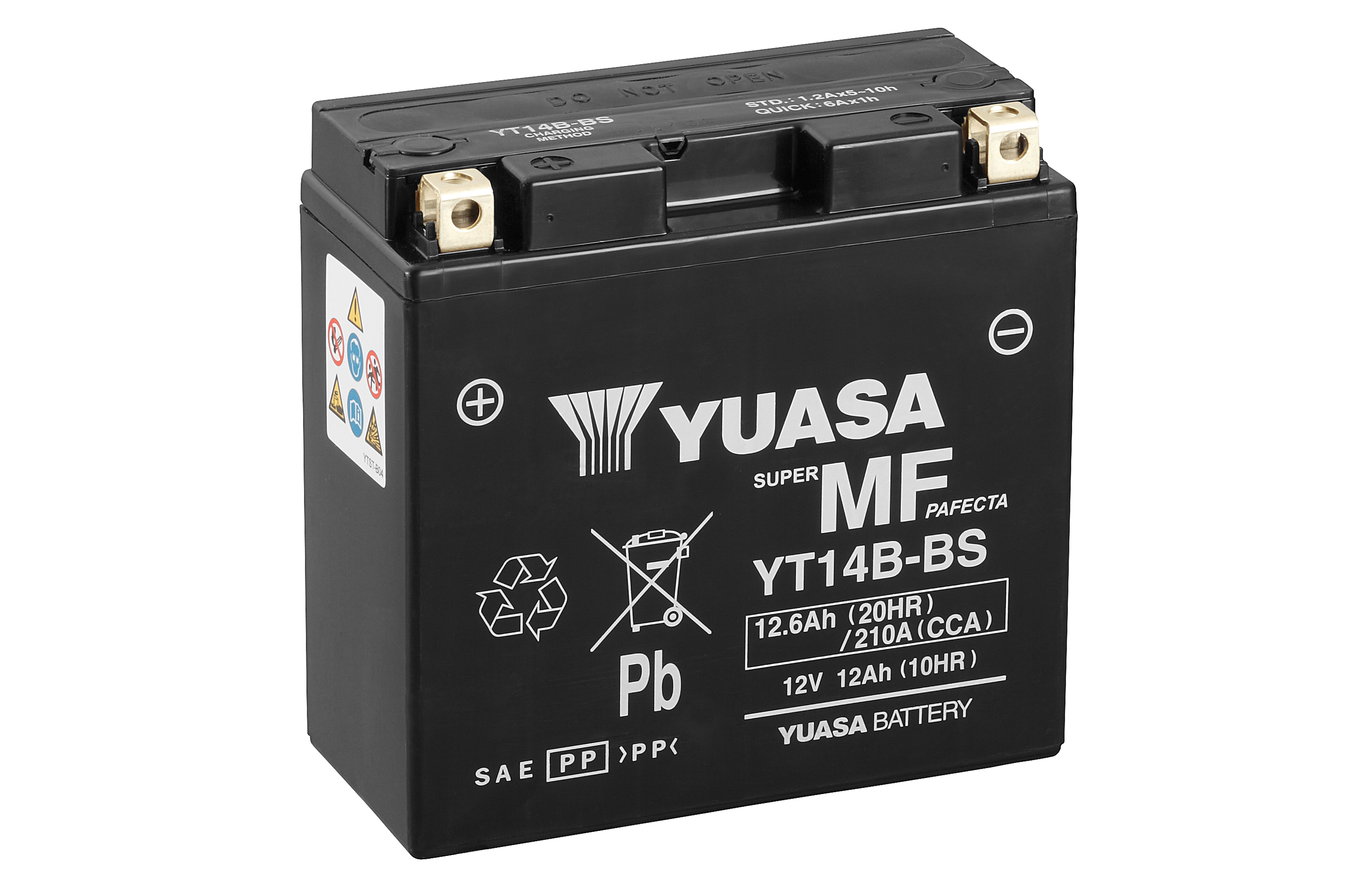 yuasa motorcycle battery yt14b bs 12v 12a from county battery. Black Bedroom Furniture Sets. Home Design Ideas