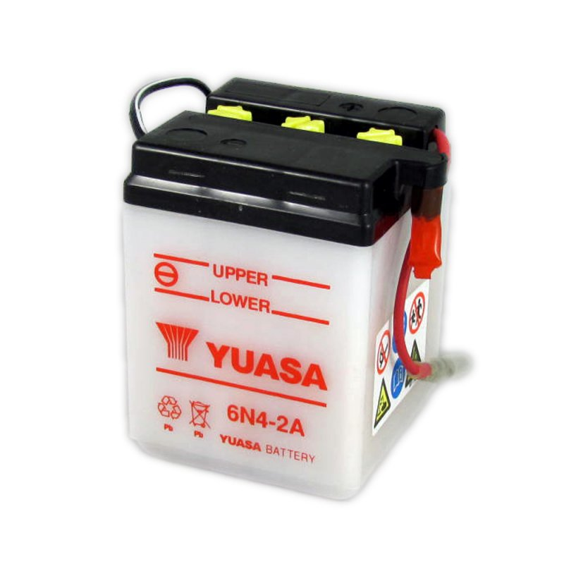 yuasa motorcycle battery 6n4 2a 6v 4ah from county battery. Black Bedroom Furniture Sets. Home Design Ideas