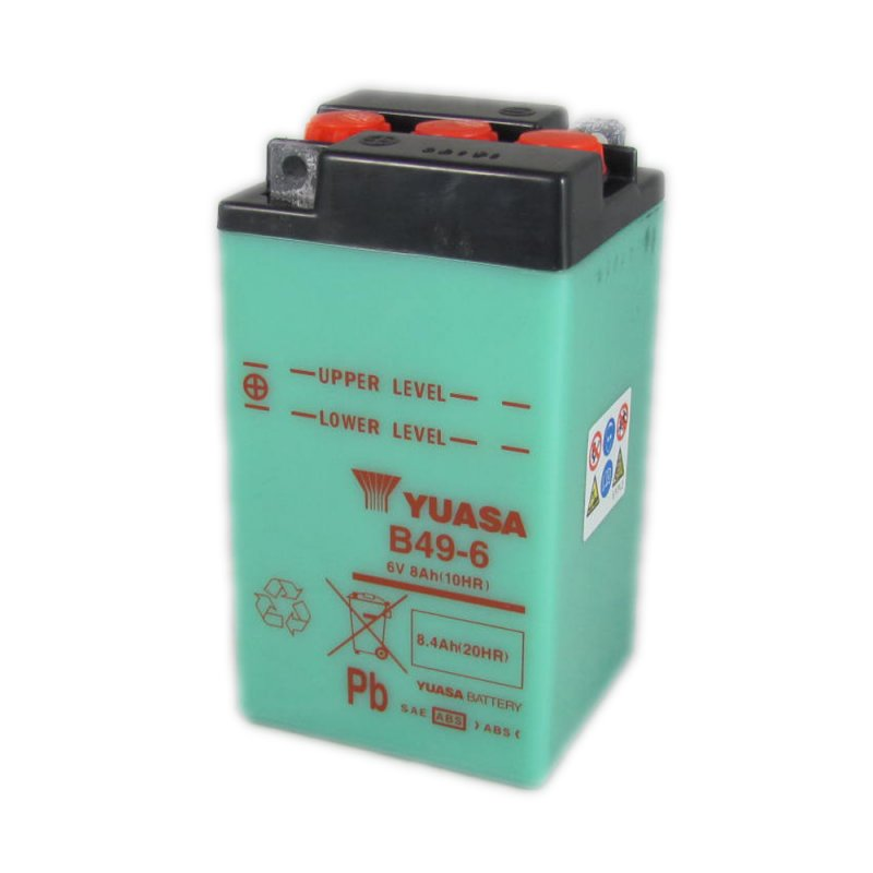 yuasa motorcycle battery b49 6 6v 8ah from county battery. Black Bedroom Furniture Sets. Home Design Ideas