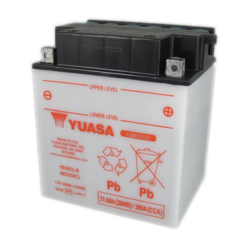 yuasa motorcycle battery yb30cl b 12v 30ah from county battery county battery. Black Bedroom Furniture Sets. Home Design Ideas