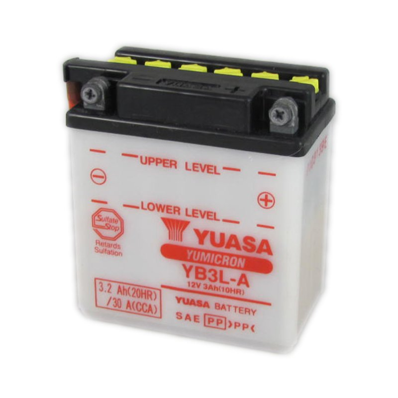 yuasa motorcycle battery yb3l a 12v 3ah from county battery county battery. Black Bedroom Furniture Sets. Home Design Ideas