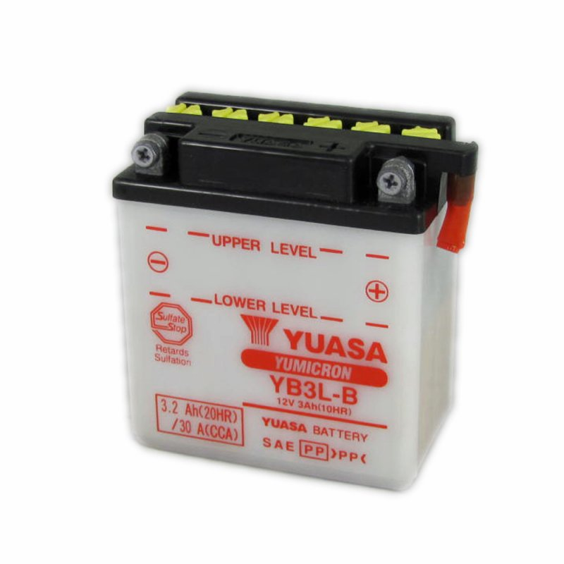 yuasa motorcycle battery yb3l b 12v 3ah from county battery county battery. Black Bedroom Furniture Sets. Home Design Ideas